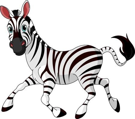 horse clipart: Illustration of Funny running  Zebra Illustration