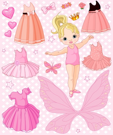 Paper Baby Doll with different ballet and princess dresses Vector