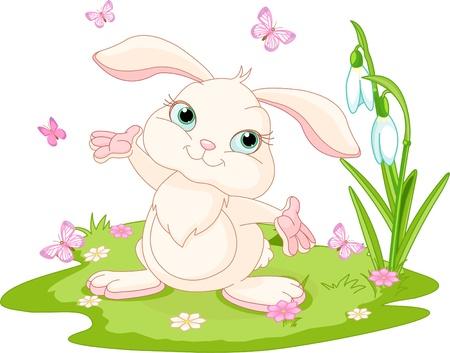 lapin: Scène de printemps avec bunny et papillons