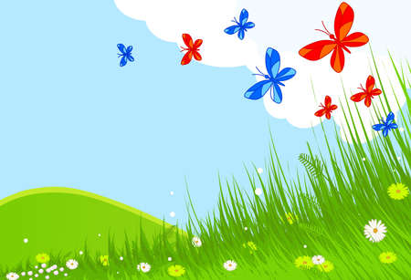 Idyllic spring landscape with butterflies Vector