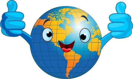 Cartoon world globe giving thumbs up.  (Western Hemisphere) Ilustracja