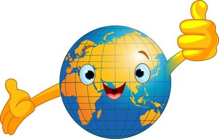 montrer du doigt: Globe de monde Cartoon abandonner les pouces.  (Ancien monde) Illustration