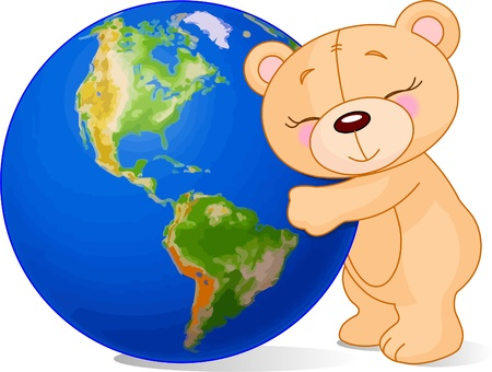 Teddy bear hugging the Earth Stock Vector - 9378393