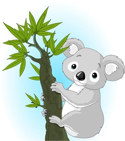 Illustration de koala Cute sur un arbre