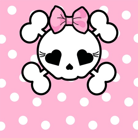 cute skull: Very cute Skull with bow on dotted  background with place for copytext Illustration