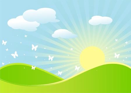 rising sun: Paisaje id�lico de primavera con mariposas y sol naciente