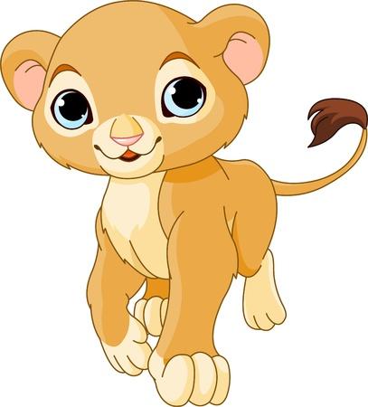 カブ: 白い背景のかわいいライオンの子を歩く