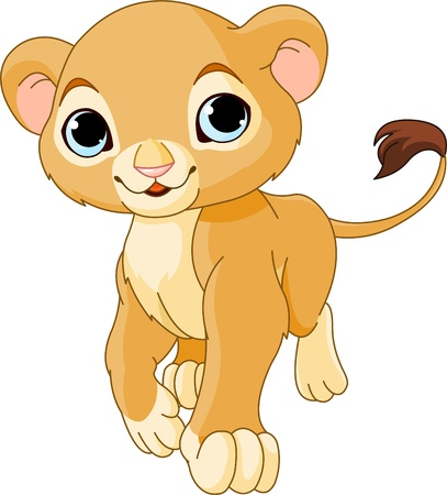 Walking cute Lion Cub of a white background Stock Vector - 9396525