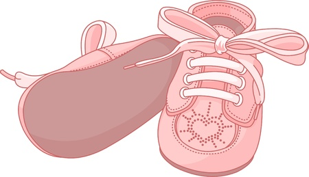 baby and mother: Pink baby shoes on white background