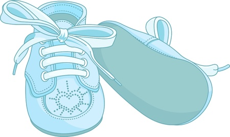 baby and mother:  Blue baby shoes on white background Illustration