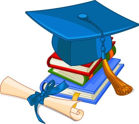 diplom studen: Graduation Cap und Diplom auf Haufen Buch