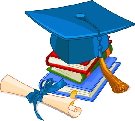 college graduate: Illustration of graduation cap and diploma  on pile book  Illustration
