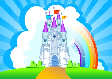 Invitation card with Magic Fairy Tale Princess Castle  Vector