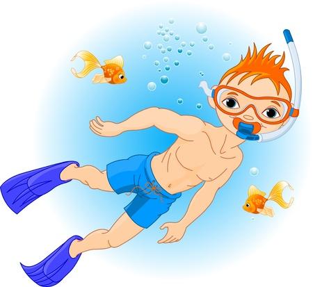 scuba diving: Vakantie met duiken. Boy zwemmen onder water Stock Illustratie