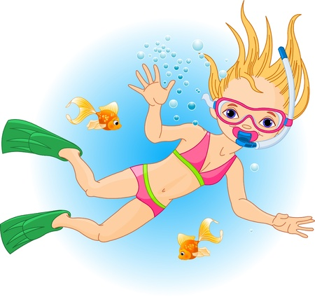 Holiday with Scuba Diving. Girl swimming under water