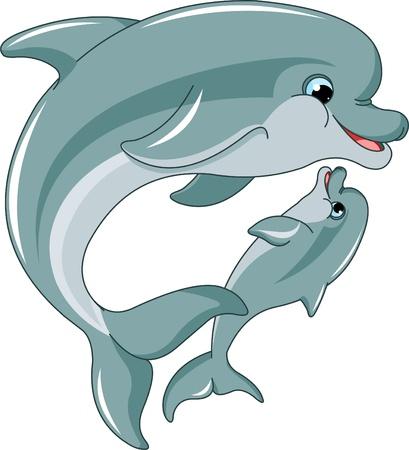 delfin: Matka delfinów i dziecko samodzielnie na białym tle Ilustracja