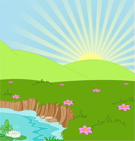 cartoon sun:  Paisaje id�lico de verano con libra y flores Vectores