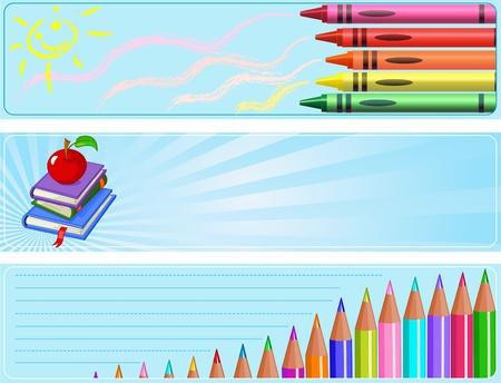 jardin de infantes:  Conjunto ilustrada de tres diferentes a pancartas de escuela