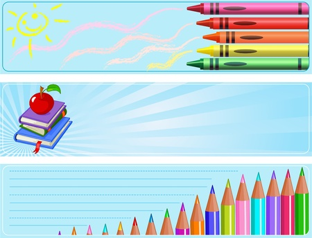 Illustrated set of three different  Back to school banners Фото со стока - 9473425