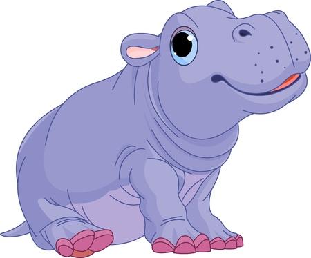 Illustratie van schattige baby Hippo boy Stock Illustratie