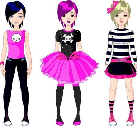 t shirt model: Illustrazione di tre ragazze di stile Emo Vettoriali