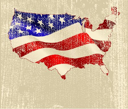A grunge design of American flag map Vector