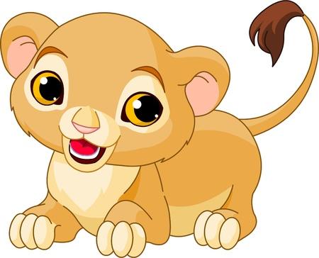 カブ: 白い背景のウズウズかわいいライオンの子  イラスト・ベクター素材