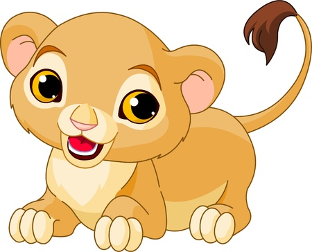 Raring cute Lion Cub of a white background Vector