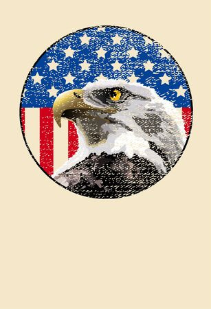 Bald eagle in front of an American flag Vector