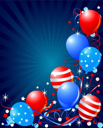 Colorful Balloons card for Fourth of July  向量圖像