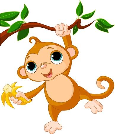 monkey on a tree: Cute baby monkey on a tree holding banana
