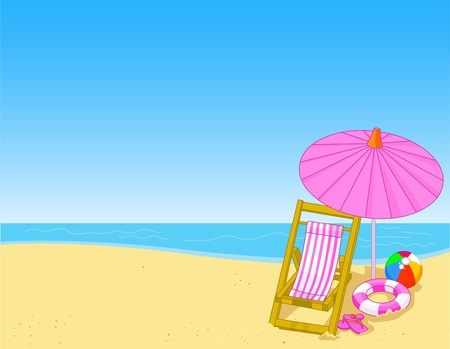 Illustration of summer beach with chaise lounge Vector