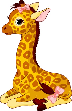 Illustration of little cute giraffe Calf with bow Çizim