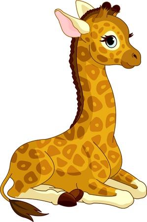 Ilustración de jirafa lindo poco becerro Vectores