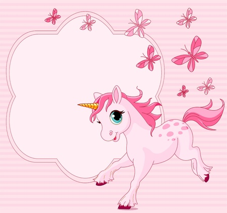 Place card of running beautiful baby unicorn Vector