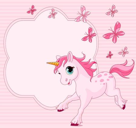 unicorn: Place card of running beautiful baby unicorn