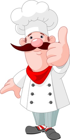 Illustration of chef cook giving thumbs up