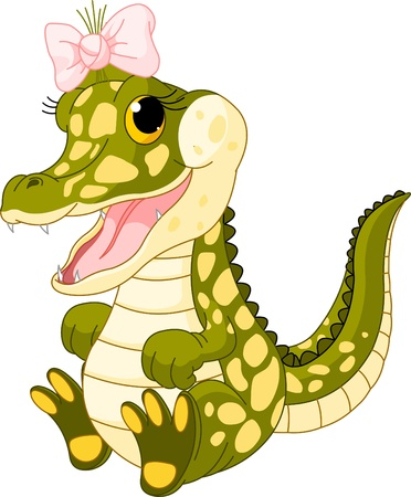 Illustration of very cute baby girl crocodile Vector