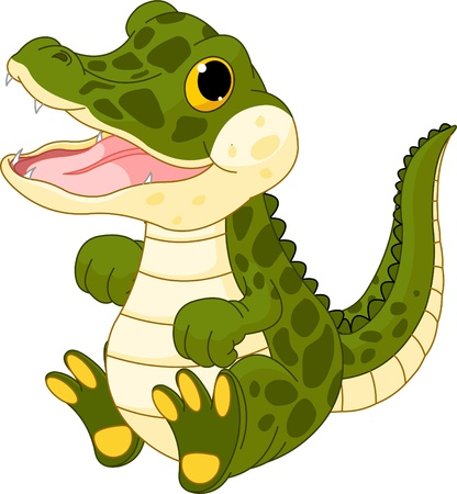 Illustration of very cute baby crocodile Stock Vector - 9565964