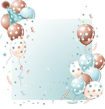 birthday banner: Blue birthday card with balloons, hat and plenty of copy space.