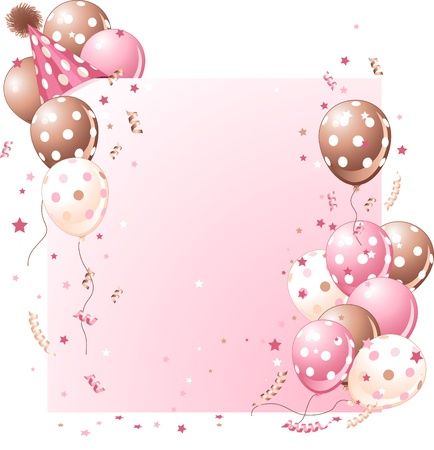birthday invitation: Pink birthday card with balloons, hat and plenty of copy space.