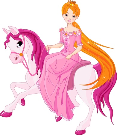 beautiful princess: Beautiful princess with pink dress riding horse