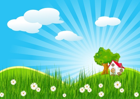 shiny background: Idyllic summer landscape with little house Illustration