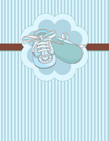 Blue baby shoes invitation card Ilustracja