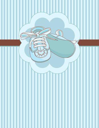Blue babyslofjes uitnodigingskaart Stock Illustratie