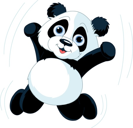 childishness: Very cute jumping happy panda