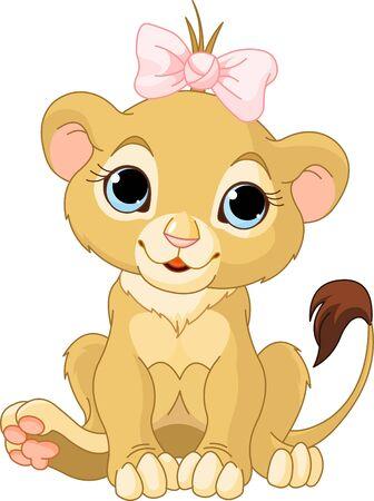 カブ: カブの女の子かわいいキャラクターのライオン