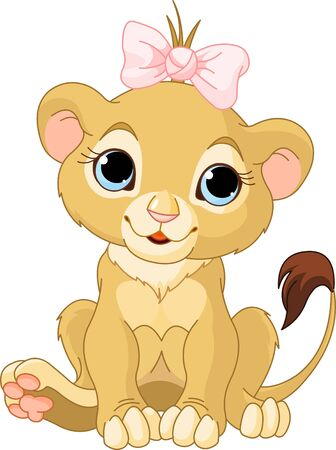 A cute character lion girl cub