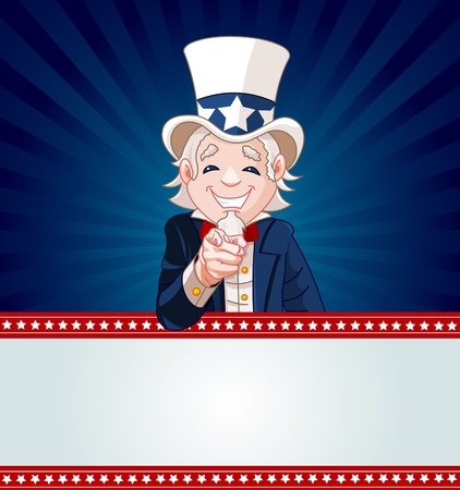 Uncle Sam pointing. Perfect for a USA or Fourth of July illustration. Stock Vector - 9680946