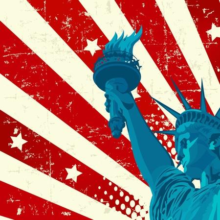 ville usa: Un drapeau am�ricain avec la Statue de la libert� de grunge